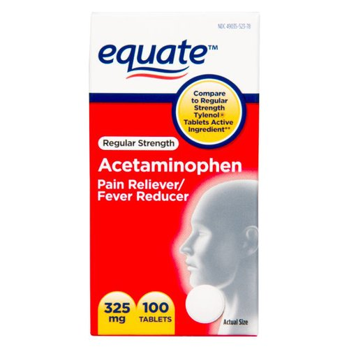 Equate Regular Strength Acetaminophen Pain Reliever/Fever Reducer Tablets, 325mg, 100 count