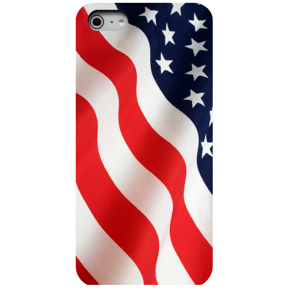 CUSTOM Black Hard Plastic Snap-On Case for Apple iPhone 5 / 5S / SE - Red White Blue United States Flag USA