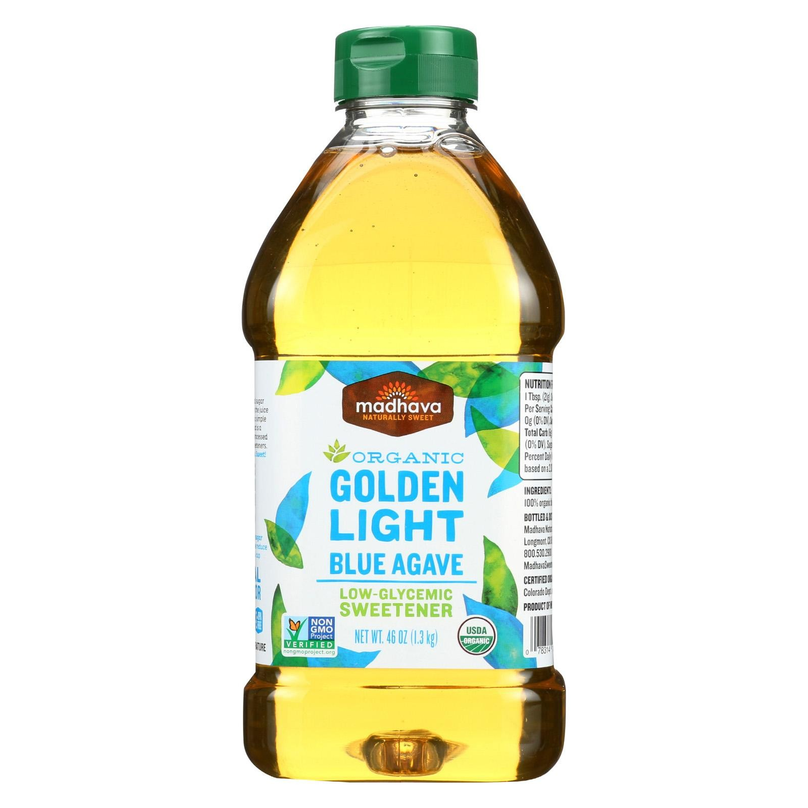 Madhava Honey Agave Nectar - Organic - Light - Pack of 4 - 46 Oz