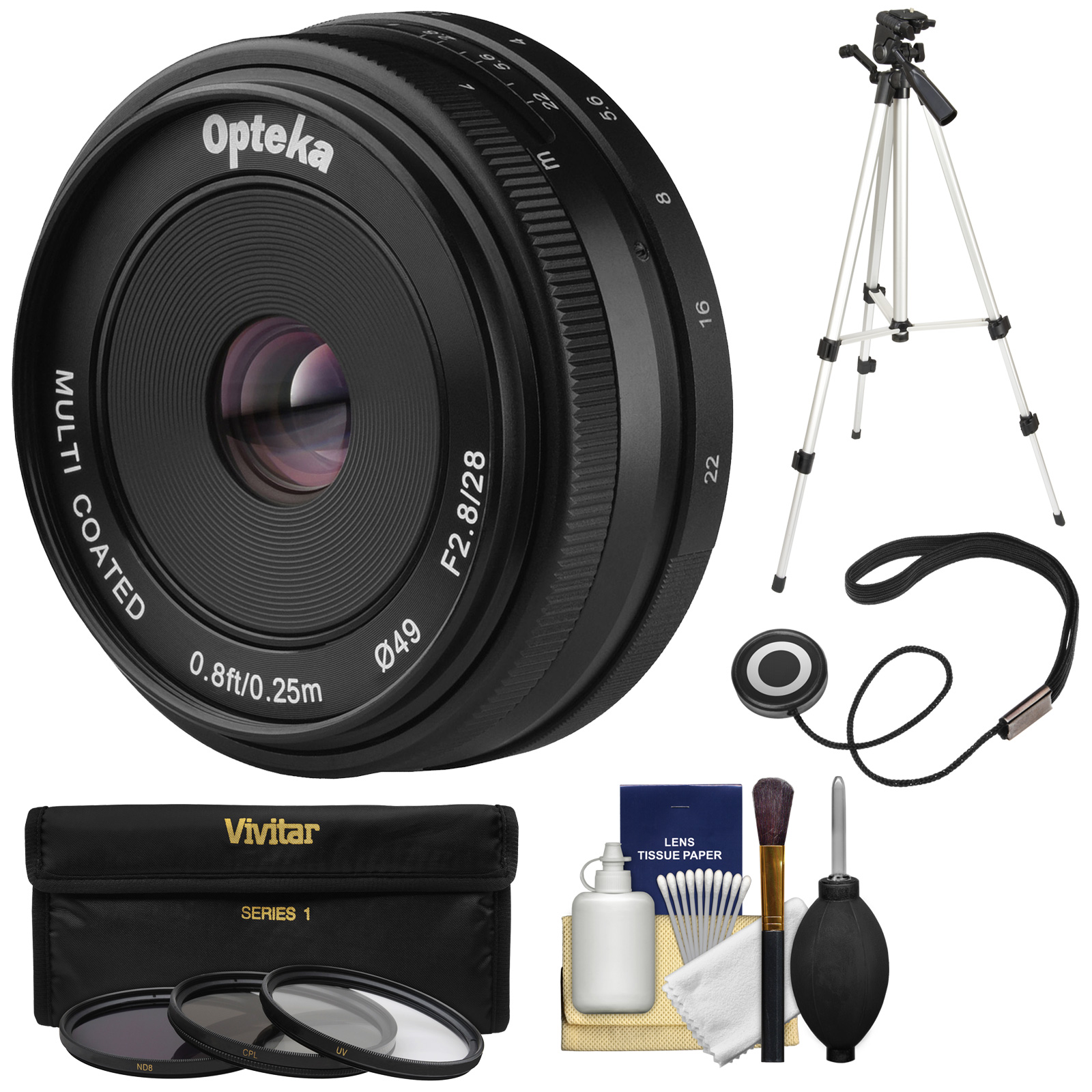 Opteka 28mm f/2.8 HD MF Prime Pancake Lens with 3 Filters + Tripod Kit for Olympus OM-D, PEN & Panasonic LUMIX Micro 4/3 Digital Cameras