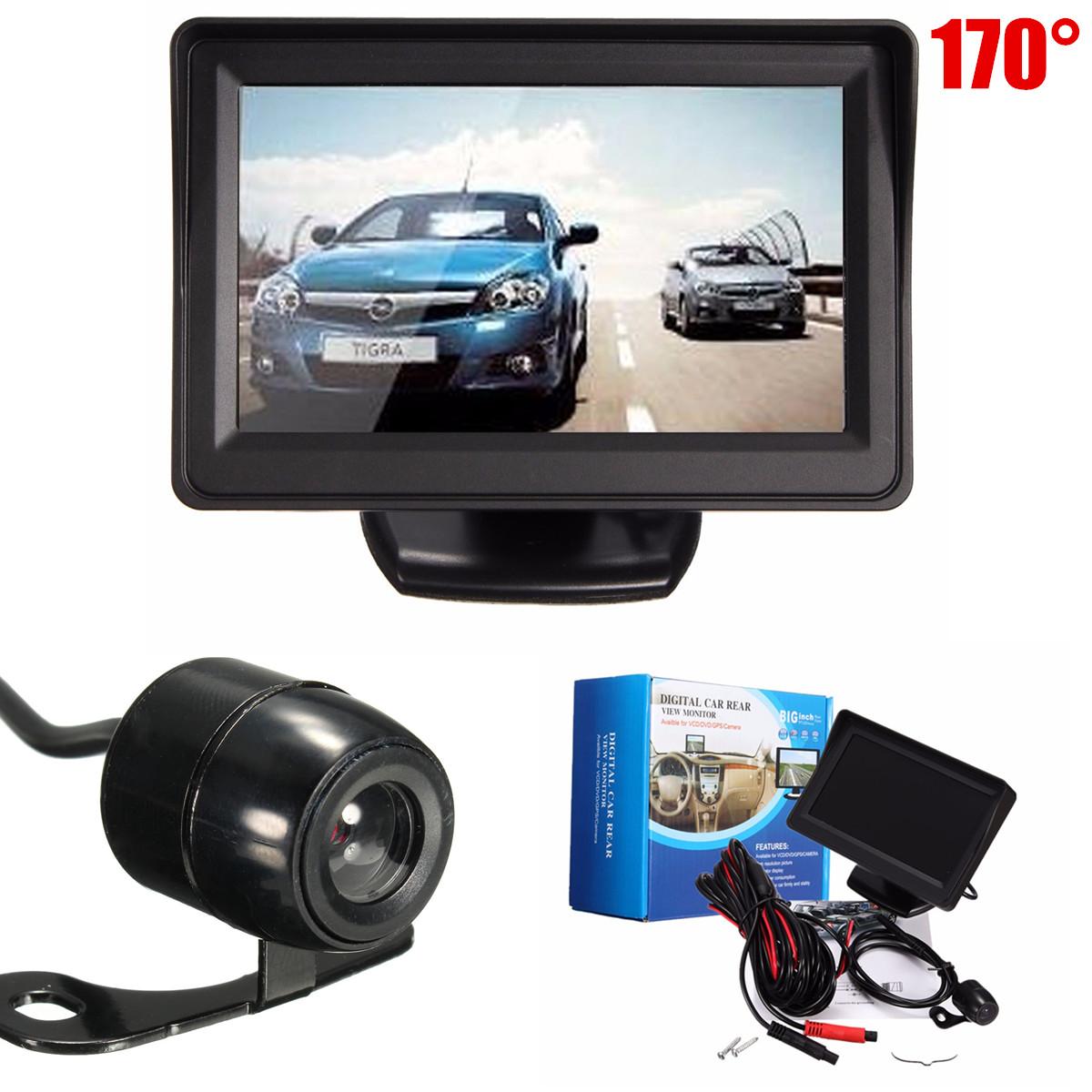 4.3'' TFT LCD Car Vehicle Rear View HD Monitor + 170° CMOS IP67 auto camera Waterproof Night Vision Reverse System Parking Camera Back Up Black PAL/NTSC With 170° View Angle