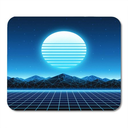SIDONKU Retro Futuristic 1980S Digital Landscape in Cyber World Retrowave Music Album Sun Space Mountains Mousepad Mouse Pad Mouse Mat 9x10 inch