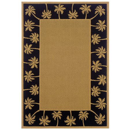 Moretti Bali Area Rugs - 606K5 Outdoor Beige Trees Palm Outdoor Tropical Rug ()