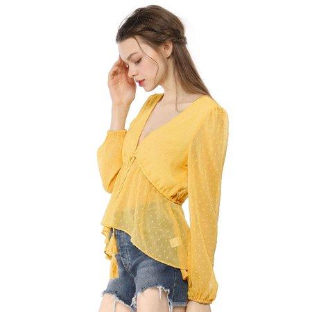Unique Bargains Women's V Neck Drawstring Dots Chiffon Blouse Top Yellow M - image 4 of 6