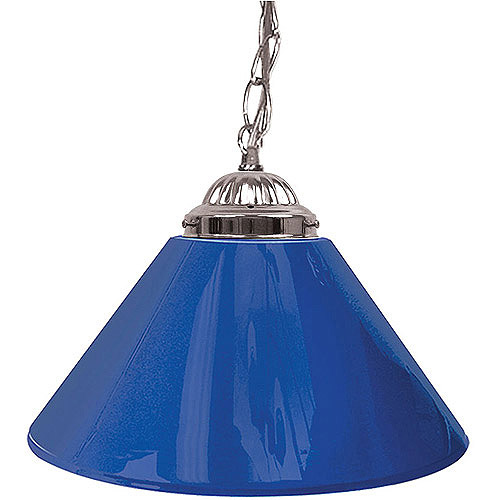 "Trademark Global Plain Blue 14"" Single Shade Bar Lamp - Silver Hardware"