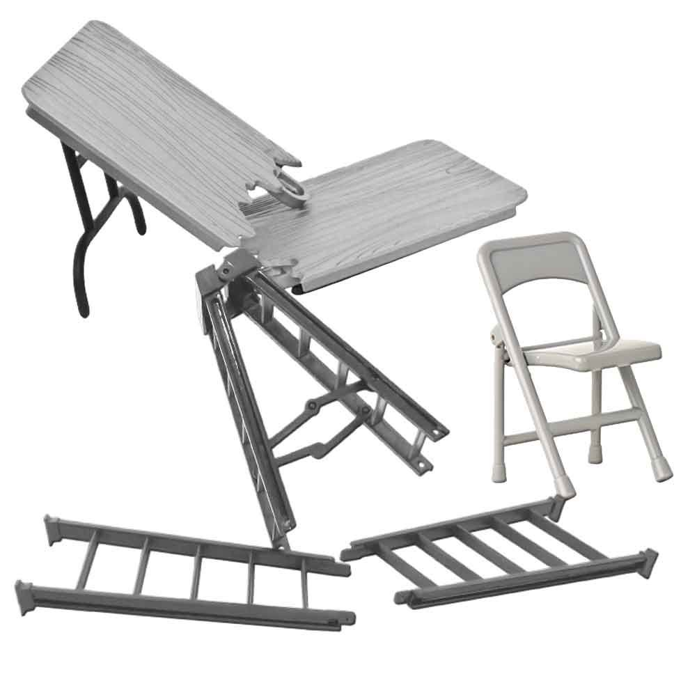 Special Deal 10 Inch Silver Ladder, Silver Table and Folding Chair for WWE Wrestling Action Figures