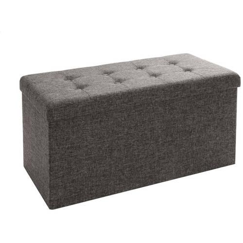 seville classics foldable storage bench ottoman charcoal gray
