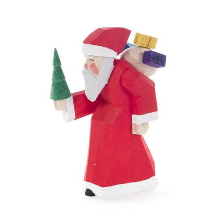 Carved Santa German Wood Miniature Figurine Handcrafted in Erzgebirge Germany
