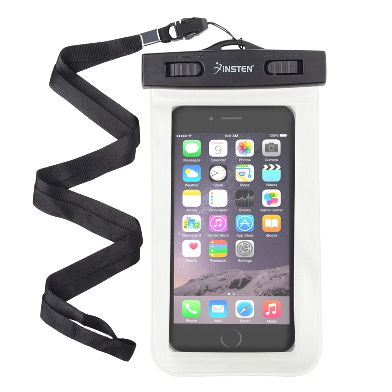 Insten White Waterproof Bag Carrying Case Pouch (6.5 x 3.9 inch) with Lanyard & Armband for iPhone 7 6s Plus 6 5s Samsung Core Grand Prime S7 S6 S5 Note 5 LG K7 G Stylo Leon Universal - up to 3 meter