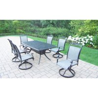 Oakland Living Corporation Sling 7 Pc Dining Set with Boat Table and 6 Swivel Rockers in Black