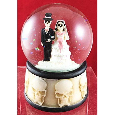 Love Never Dies Skeleton Wedding Couple Small Water Globe Figurine Day Of The Dead Wedding Gift Decor Dias De Los Muertos