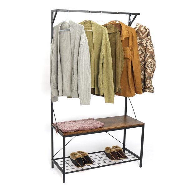 "71"" Entryway Coat Rack Shoe Storage Bench, 3 Tiers and 5 Hooks Hall Tree Storage Organizer Shelf"