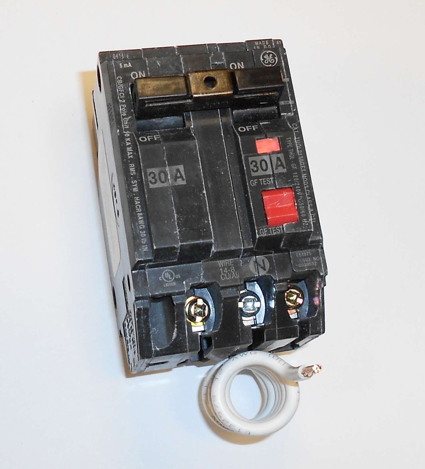GE THQL2130GFT 30A 120/240V Self-Testing 2-Pole GFCI Plug-In Circuit Breaker