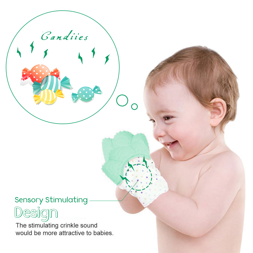 Yosoo Silicone Baby Teether Mitten Gloves,Silicone Baby Teething Mitten Sounding Baby Glove Teether Soothing Pain Relief Teething Gloves