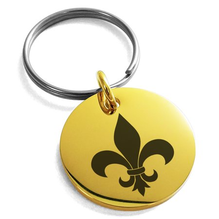 Stainless Steel Fleur De Lis Engraved Small Medallion Circle Charm Keychain Keyring