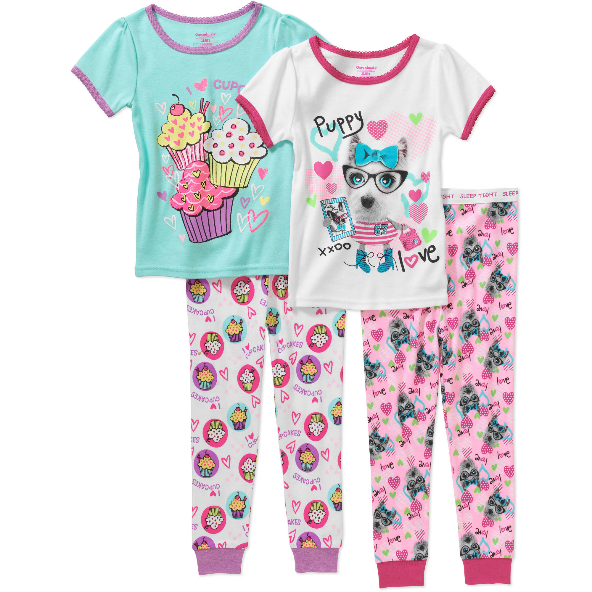 Garanimals Toddler Girl Tight-Fit Cotton Pajamas, 4-Piece Set