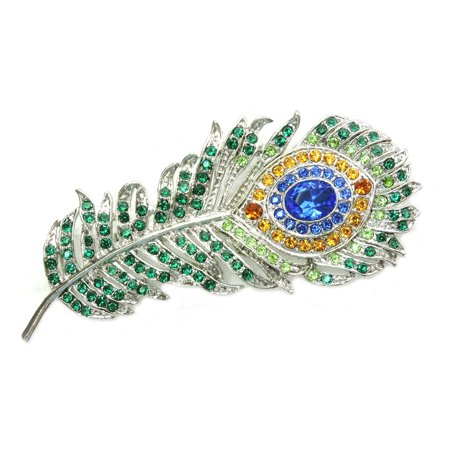 Austrian Crystal Dragonfly Pin - Gorgeous Rhinestone Crystal Peacock Feather Pin Brooch