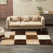Mecor Collection Area Rug Cozy Solid Flokati Shaggy Carpet Multicolor for Living Room/Bedroom Floor(3'x5'),Brown Cubes
