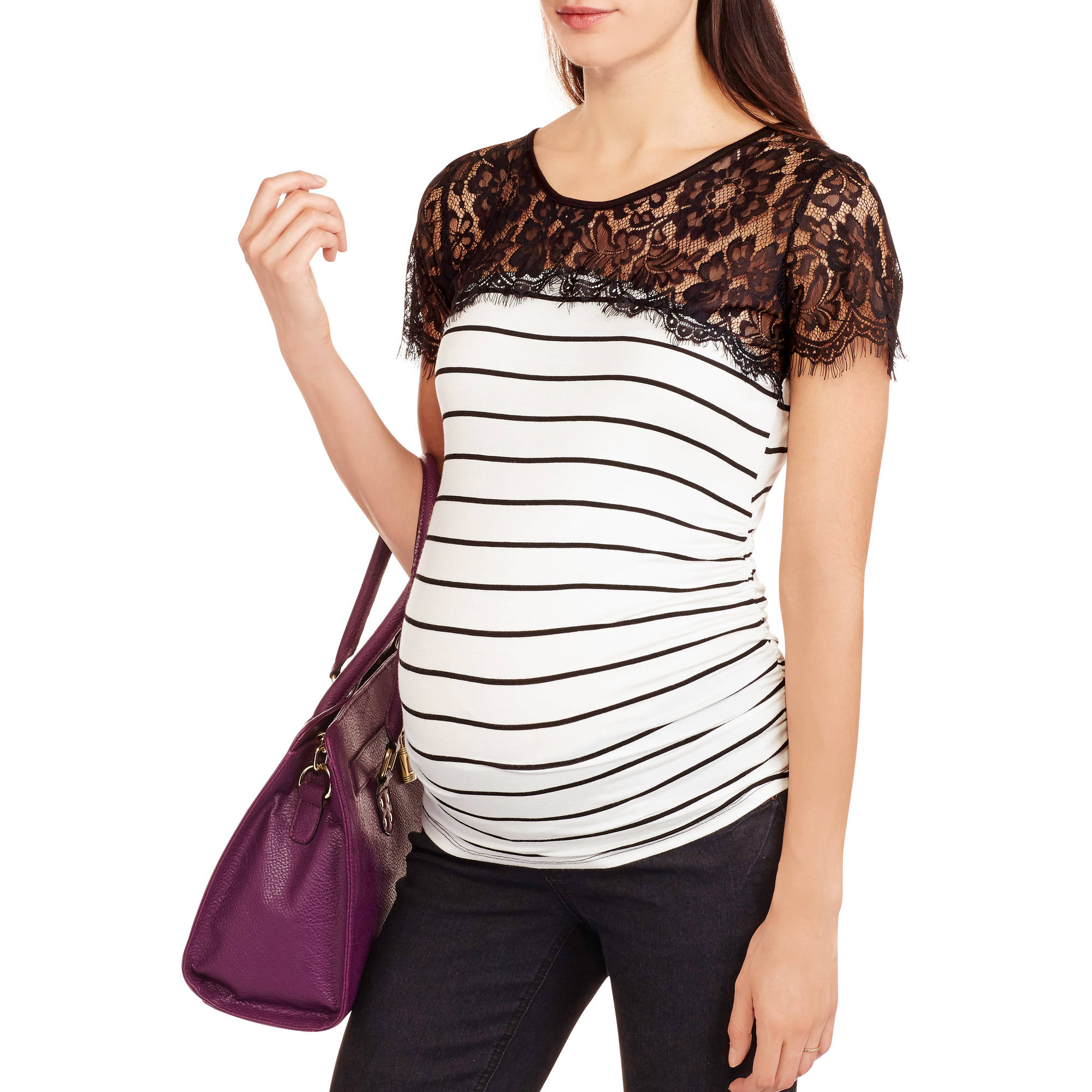 Planet Motherhood Maternity Short Sleeve Striped Tee with Lace Top  Available In Regular and Plus Size