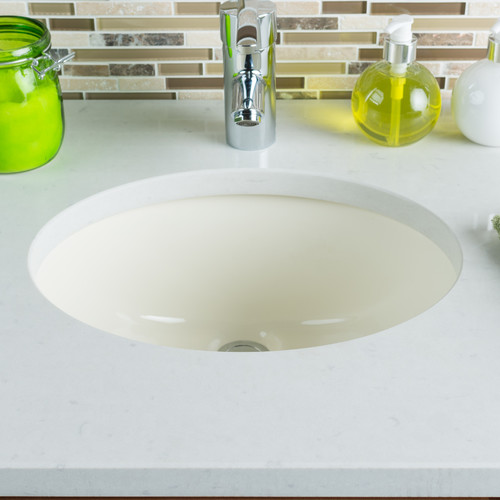 Hahn Ceramic Oval Undermount Bathroom Sink with Overflow