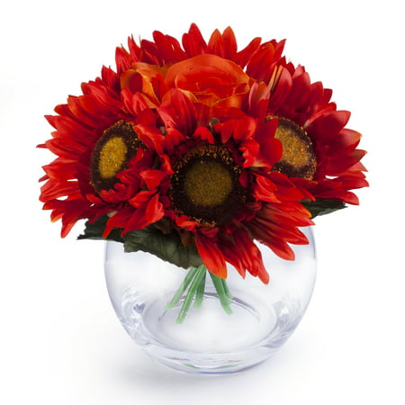 Enova Home Orange Red Mixed Sunflower and Rose Silk Flower Arrangement in Clear Glass Vase With Faux Water Flower Arrangements Sunflowers