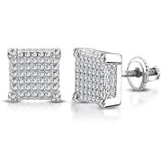 """925 Sterling Silver Square White Clear CZ Screw Back Stud Earrings, 0.35"""""""