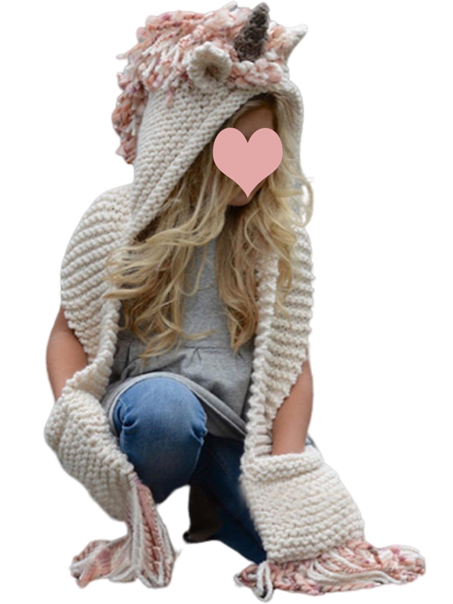 Eyicmarn Girls Unicorn Hooded Scarf Animal Hoodie Winter Cowl Crochet Knitted Beanie Hat Walmart Com Walmart Com