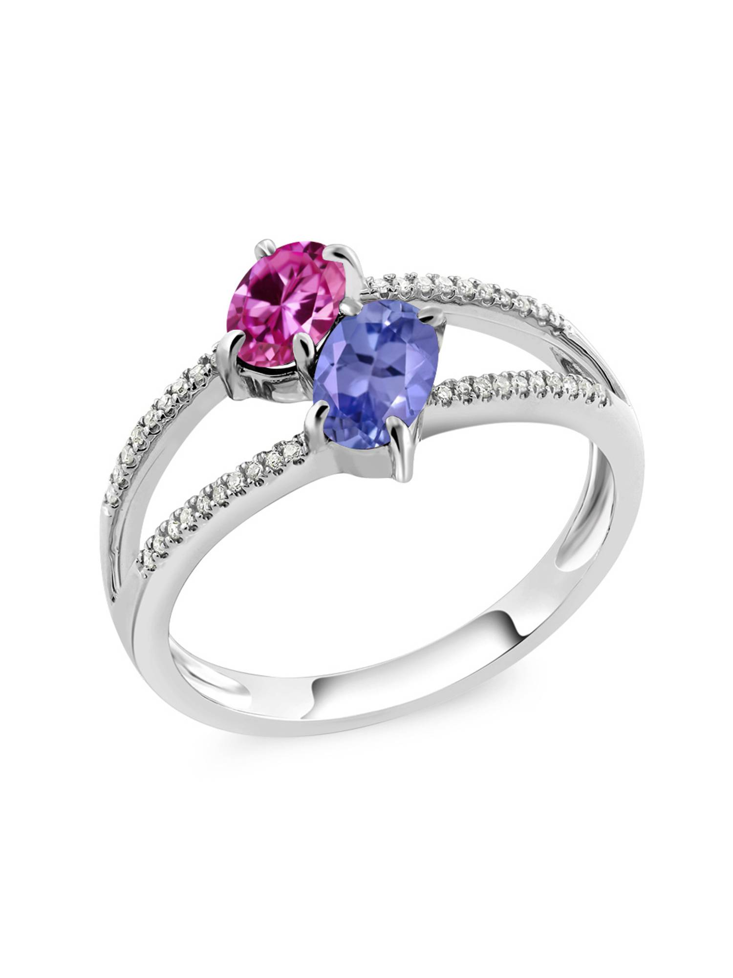 10K White Gold 1.23 Ct Oval Pink Created Sapphire Blue Tanzanite Two Stone Ring by