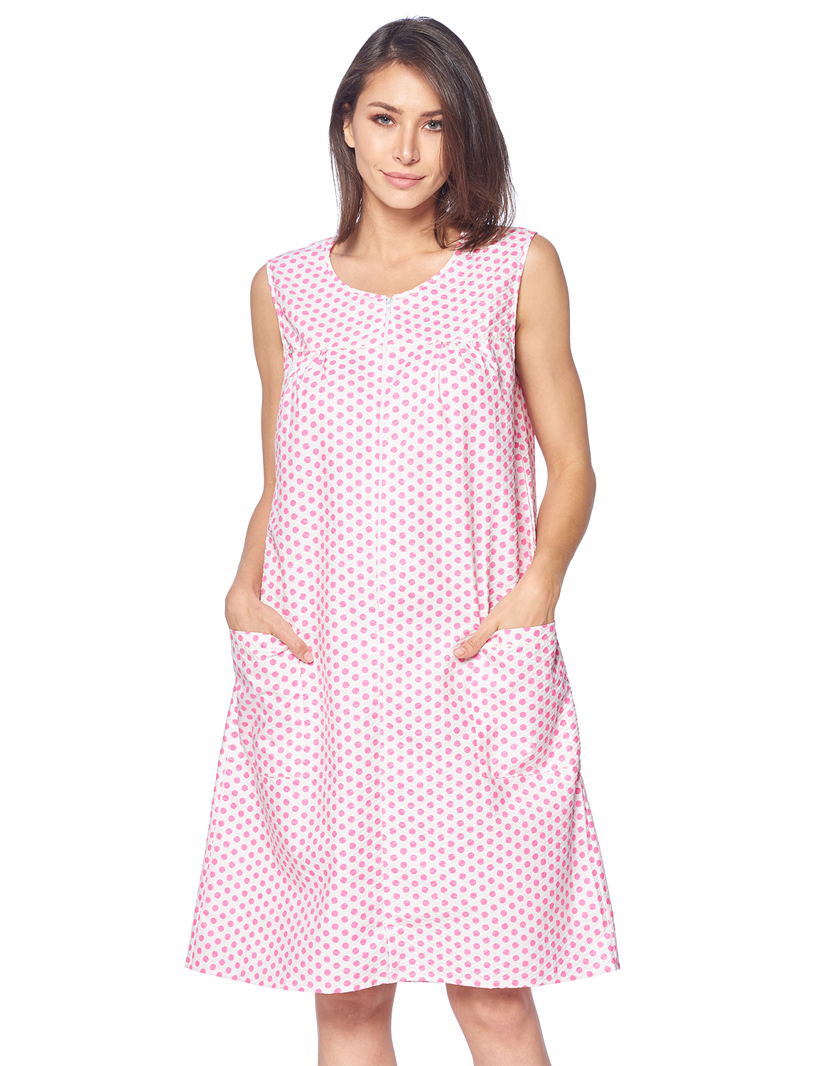 Casual Nights Women's Zipper Front House Dress Duster Sleeveless Housecoat Lounger Robe, Polka Dots Pink, XX-Large
