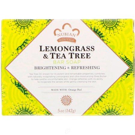 Nubian Heritage/Sundial Creations Bar Soap Lemongrass & Tea Tree 5 Ounce, Pack of
