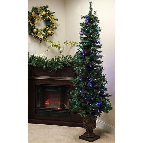 4' Pre-Lit Potted Monticello Artificial Christmas Tree - Multi LED Lights