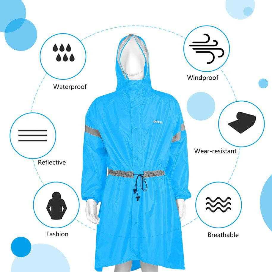 Latest Adult Raincoat Hiking Rain Coat Windproof Hooded Cape W//Backpack Cover