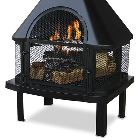 Uniflame Outdoor Wood Burning Fire Place Black Best Outdoor Fireplaces