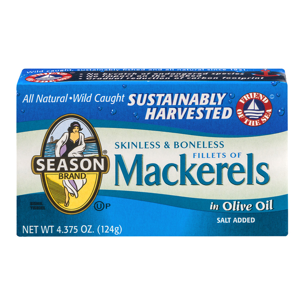 Season Mackerels Skinless & Boneless In Olive Oil, 4.375 OZ