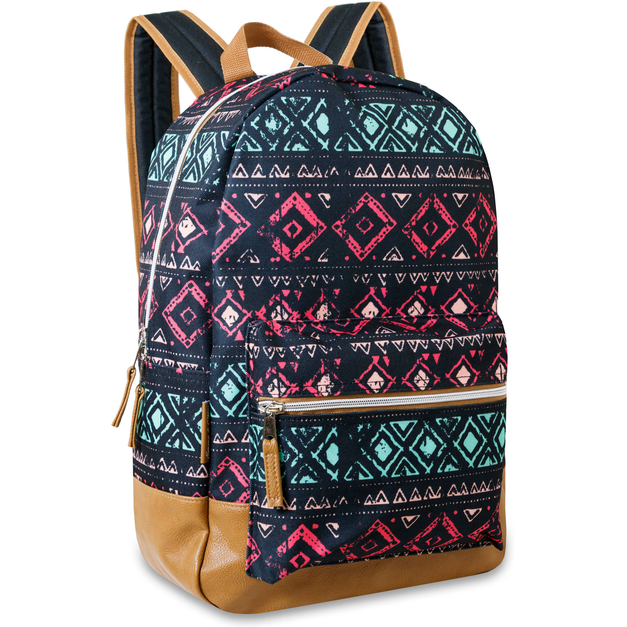 17 Inch Vinyl Bottom Dome Backpack with Front Accessory Pocket