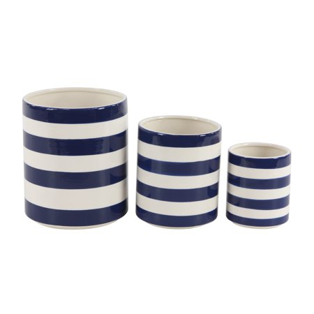 Decmode Modern 7 9 And 12 Inch White And Blue Cylindrical Ceramic