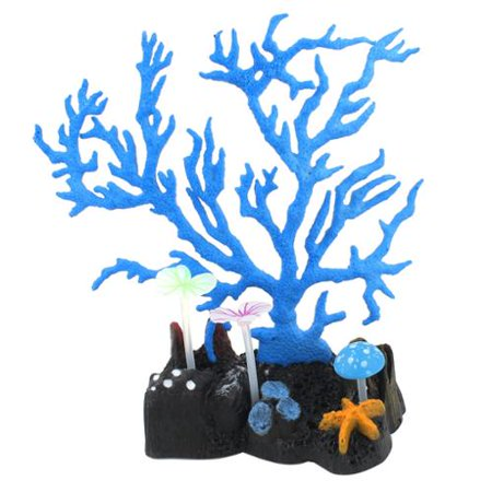 Fish Tank Emulation Mushroom Decor Glowing Coral Plant Blue 6.3