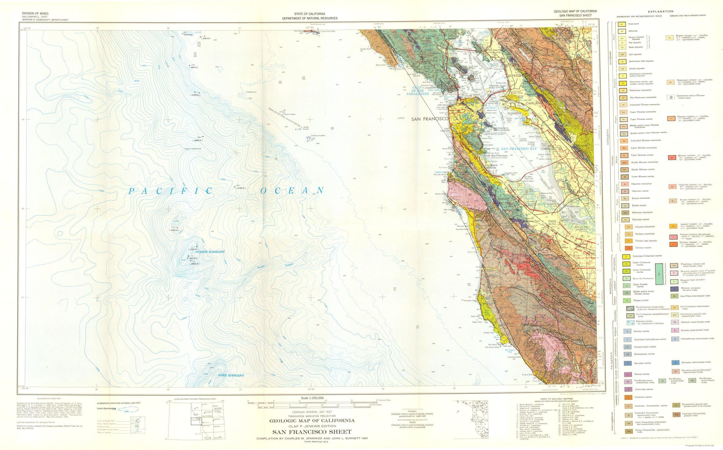 Mining Map - San Francisco California Sheet - CA Mines 1956 - 36 92 x 23