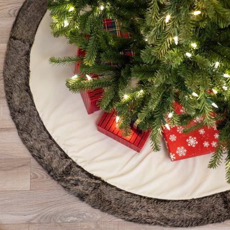 "Belham Living Velvet Faux Fur Christmas Tree Skirt, 48"" diameter"