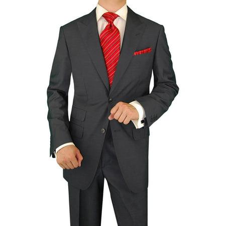 DTI GV Executive Men's Italian Two Button Wool Suit Set Ticket Pocket Jacket Charcol Italian Men Suits