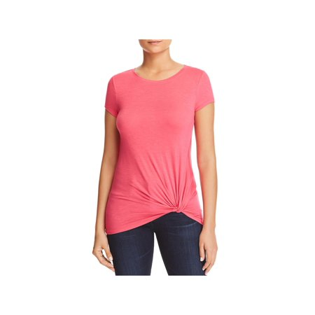 Andrew Marc Womens Twist Front Short Sleeve T-Shirt Pink (Short Horror Story Ideas With A Twist)