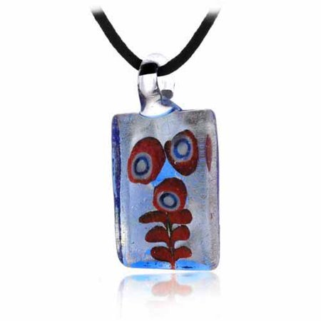 Silver Reef (Murano Glass Coral Reef Ocean design Orange Blue Silver Glitter Mini Rectangle Silk Pendant)