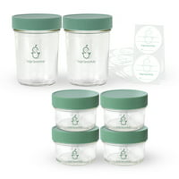 Sage Spoonfuls Glass Baby Food Storage Container, 4 oz / 8 oz, 6 pack