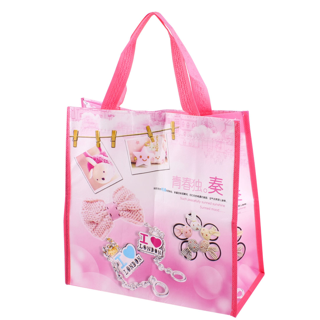Hook Loop Fastener Foldable Bowtie Pattern Shopping Tote Bag Pink White
