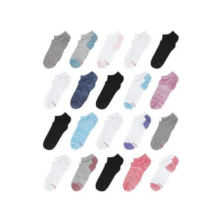 Hanes Girls Socks, 20-Pack No Show Super Value, Sizes S-L