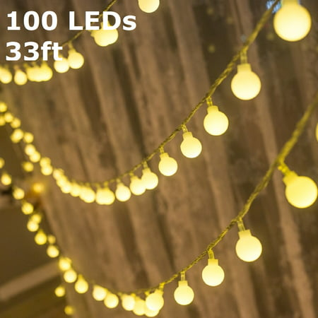 TORCHSTAR LED Globe String Lights, Waterproof Outdoor String Lights, Extendable Christmas Lights for Party, Garden, Patio, Bedroom, Dorm, Warm White ()