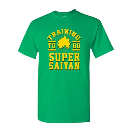 Training To Go Super Saiyan Anime Funny Parody DT Adult T-Shirt - Top Adult Anime