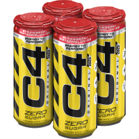 C4 Original Carbonated Pre Workout Drink, Strawberry Watermelon Ice, Four 16 Oz Cans