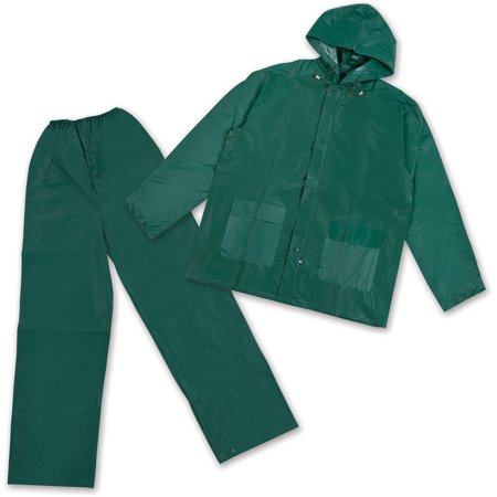 Stansport Men's Vinyl Rainsuit with Hood, Green