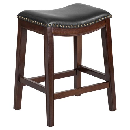 Flash Furniture 26 in. Backless Wood Counter Height Stool with Black Leather Saddle Seat